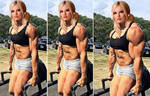 Muscled up blonde lifting heavy