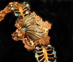 Steampunk Leaf Bug Bracelet by byrdldy