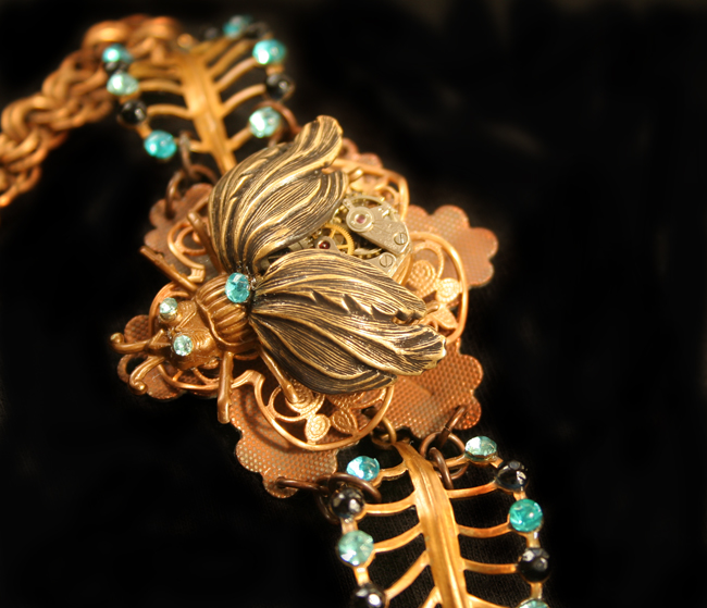 Steampunk Leaf Bug Bracelet by byrdldy