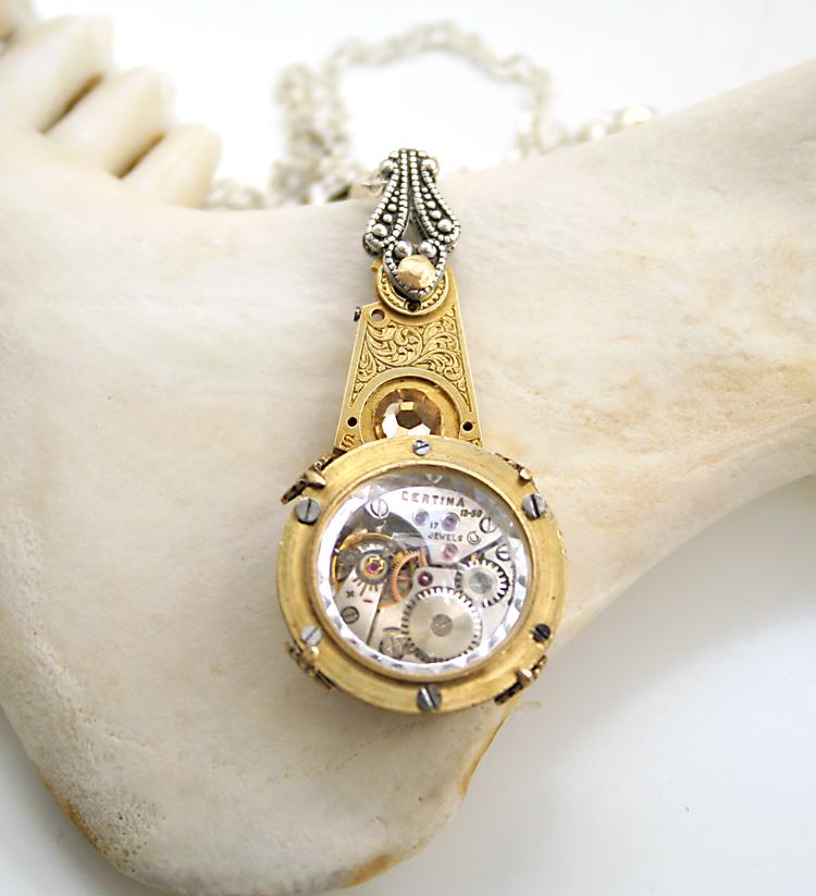 Victorian Pendulum Steampunk Necklace by byrdldy
