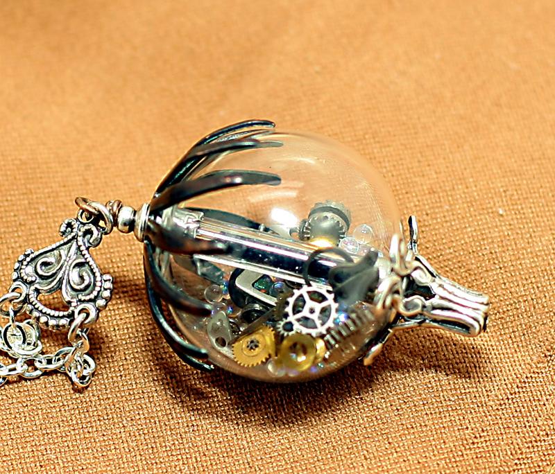 Steampunk Hot Air Balloon Necklace by byrdldy