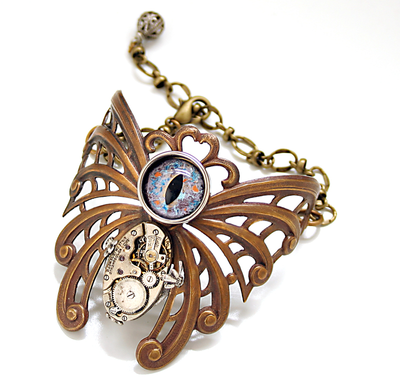 Steampunk Bracelet Eye Love Butterflies by byrdldy