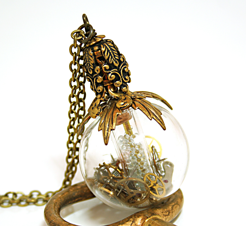 Steampunk Necklace Perfume Bottle by byrdldy