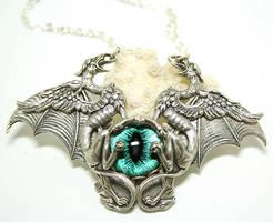 Gothic Necklace Evil Eye Griffons by byrdldy