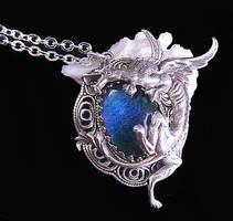 Gothic Dragon Mood Stone Necklace by byrdldy