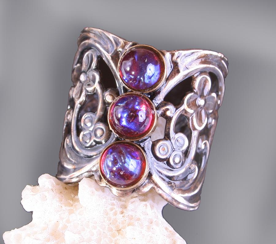 Fire Opal Dragons Breath Silver Ring by byrdldy