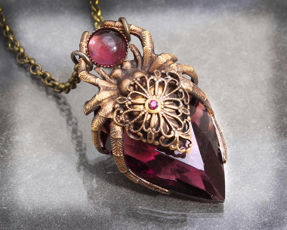 Amethyst Crystal Spider Necklace by byrdldy