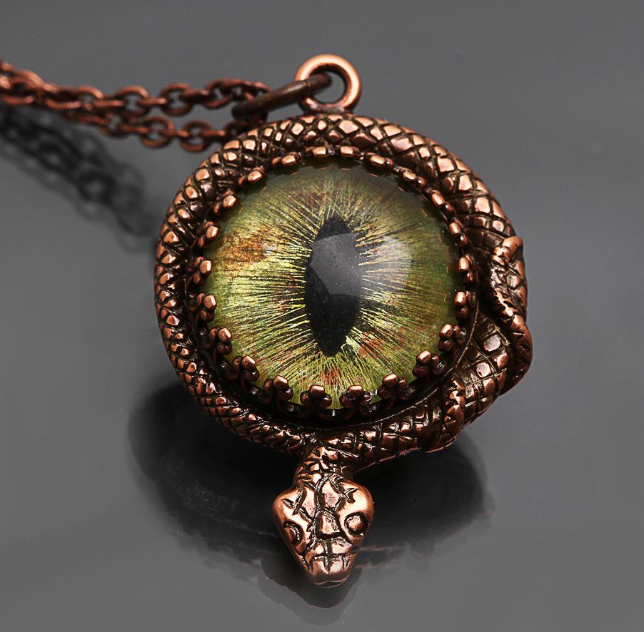 Snake Eye Snake Pendant Necklace by byrdldy