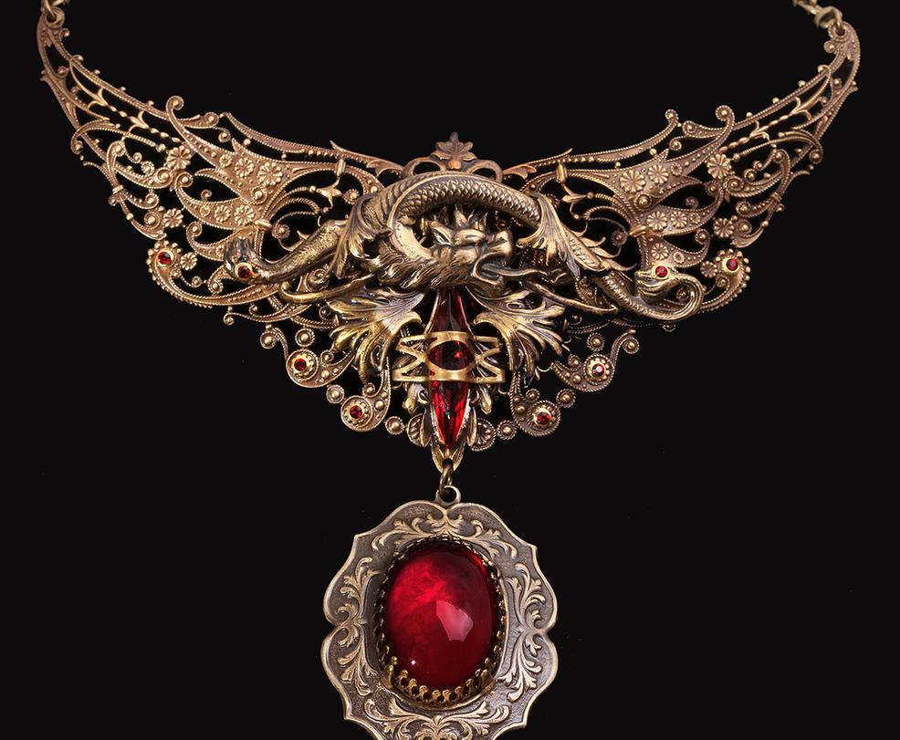 Gothic Dragon Necklace by byrdldy