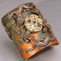 Steampunk Dragon Cuff by byrdldy
