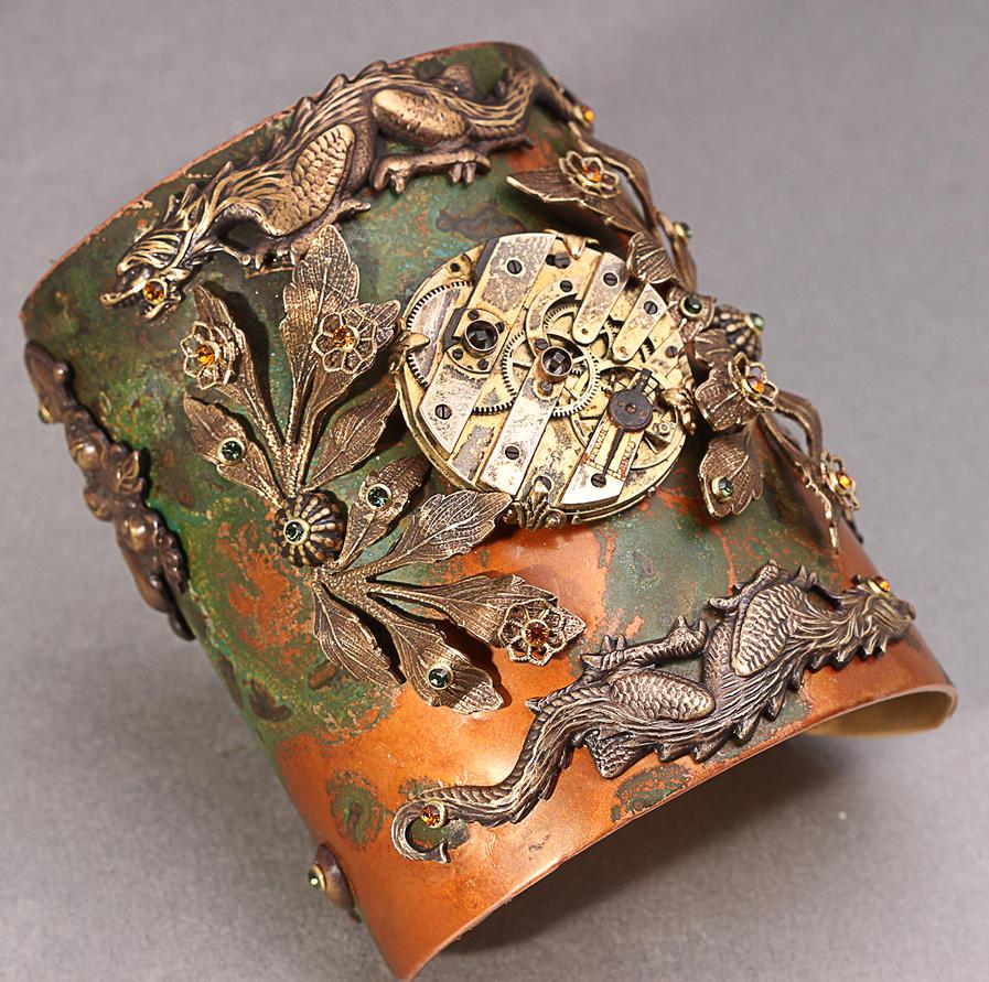 Steampunk Dragon Cuff by byrdldy