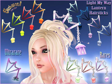 3D Lantern Hair Sticks