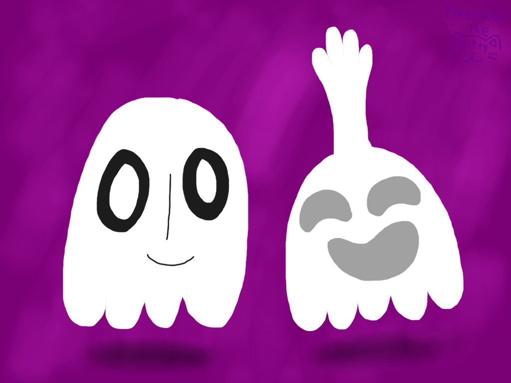 Napstablook and High Five Ghost by Emeraldia-the-Kitty