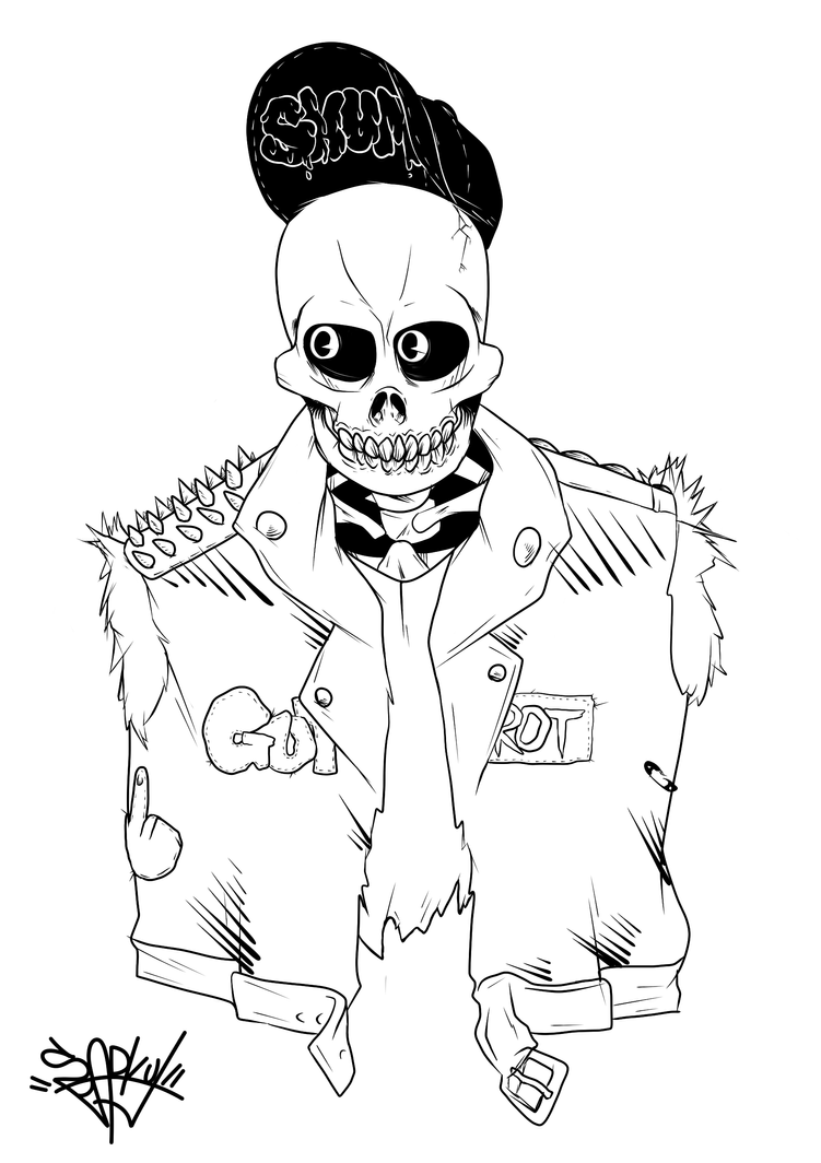 punk coloring pages - undead skull punk by sparky j on deviantart
