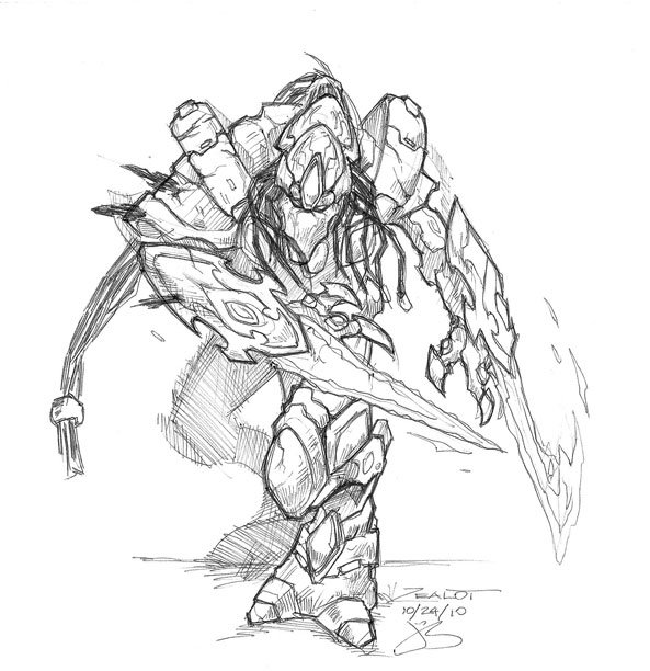 Sketches protoss zealot by jack0001 on deviantart for Starcraft coloring pages