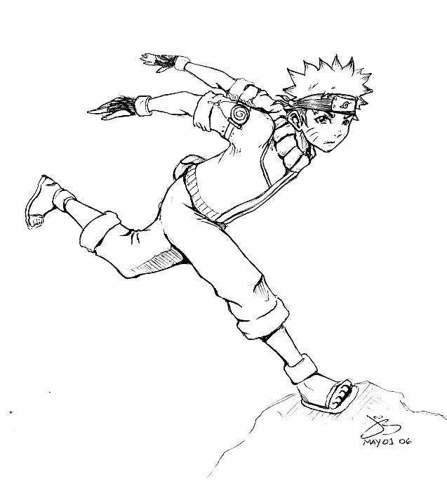 how to draw naruto running