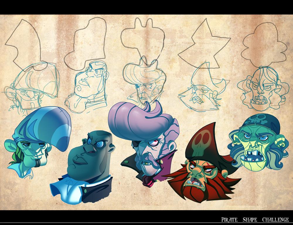 Character Design Shape Challenge : Pirate shape challenge by javas on deviantart
