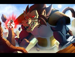 Goku Kaiohken VS Vegeta Ozharu by Javas
