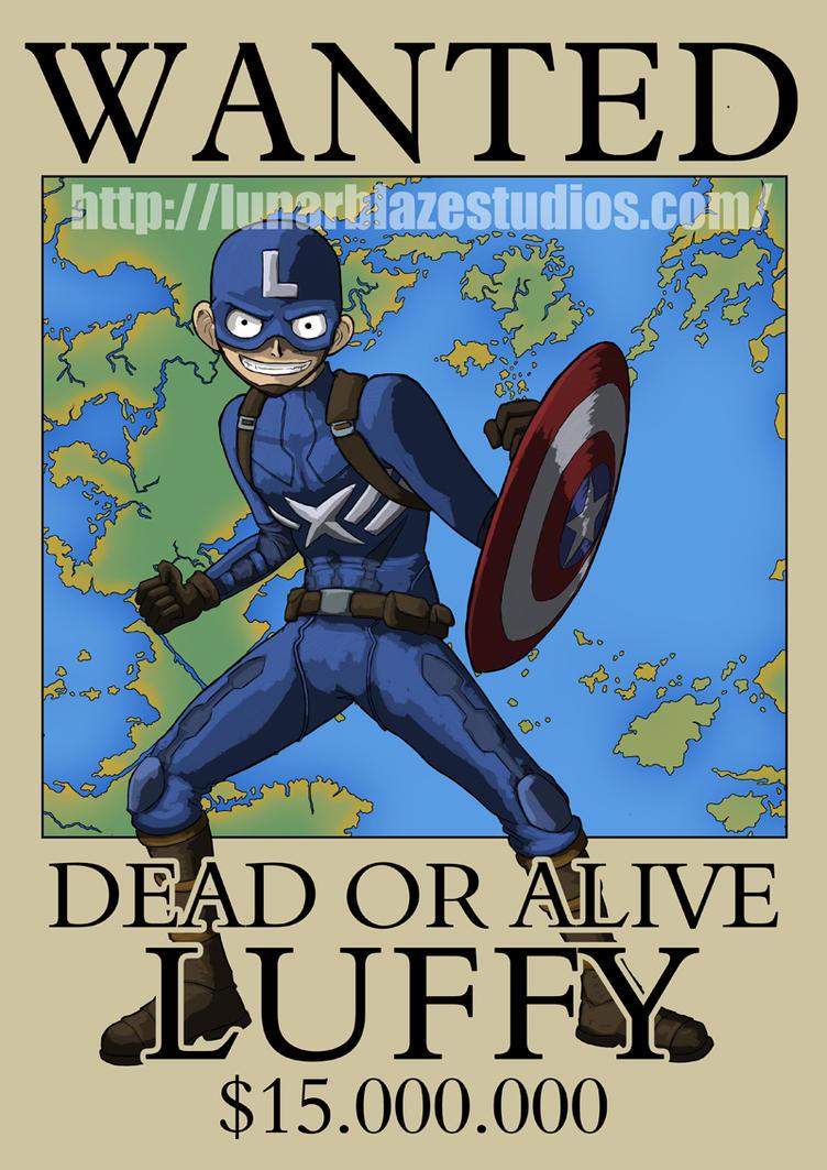 Luffy as Captain America by devillo