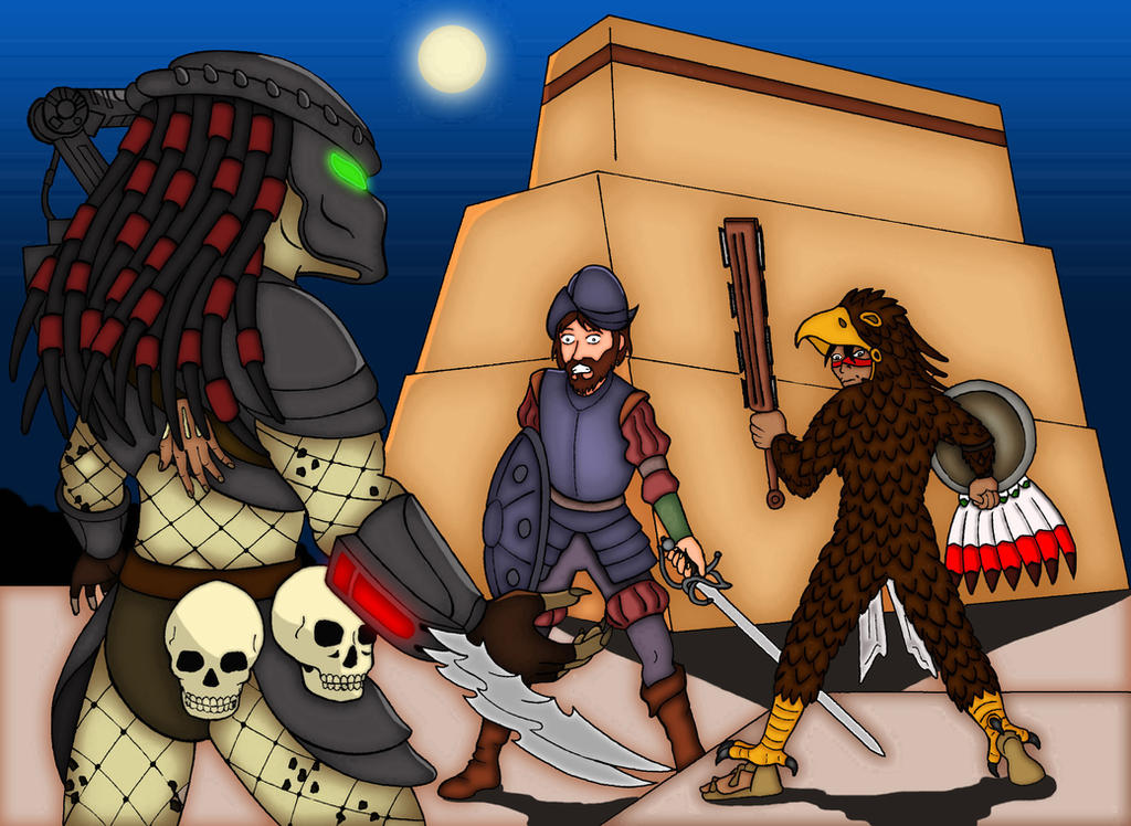 Predator Vs Azteca Warrior Vs Conquistador by mangudai-79