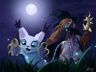 Wizardmon and Gatomon by Akuya-Kyuubi