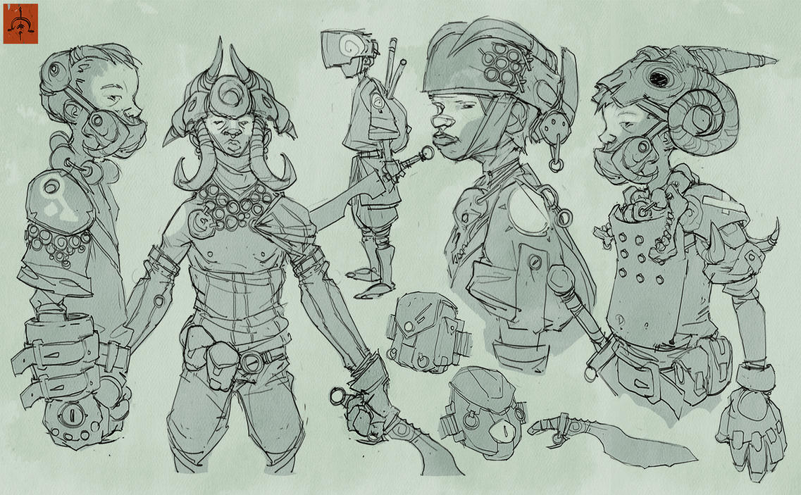 Substrata Child Soldiers Sketches 2 by fightpunch