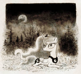 Spooky-ish resting Princess Luna