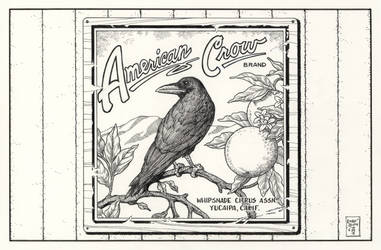 Inktober #29 American Crow Orange Crate Label