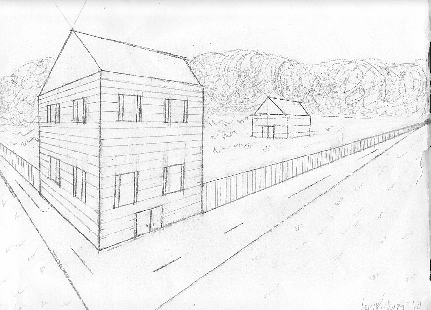 House perspective drawing by kephart design on deviantart for Architecture modern house design 2 point perspective view