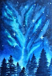 A night sky in the forest by UlianaTokarenko