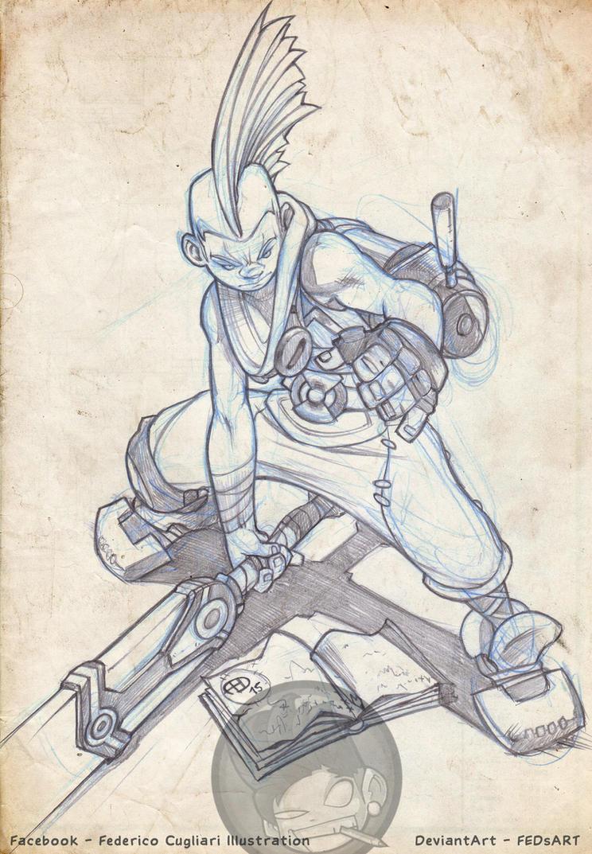 Ekko Drawing by FEDsART