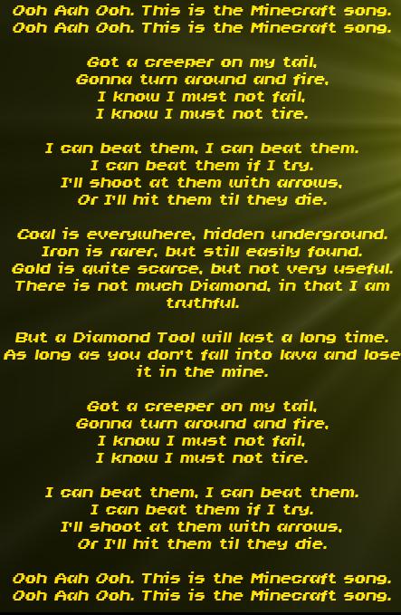 minecraft songs lyrics