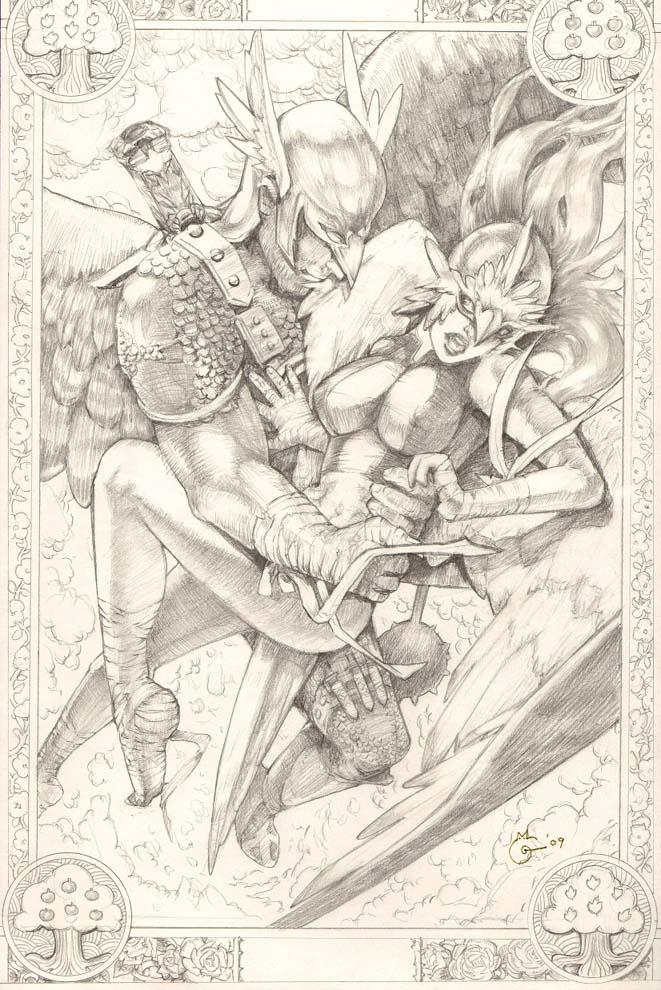 Tarot Hawk Girl and Hawk Man by DubuGomdori