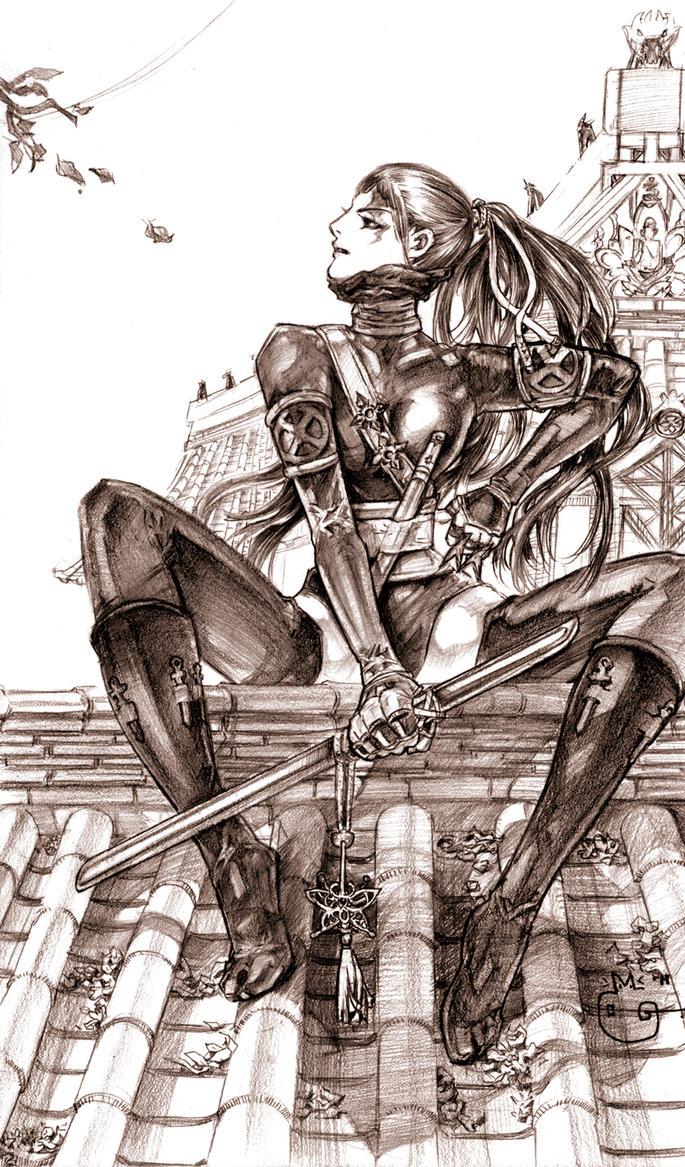 Ninja on the Roof Psylocke by DubuGomdori