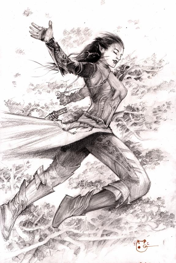 Elf Girl Jumping by DubuGomdori