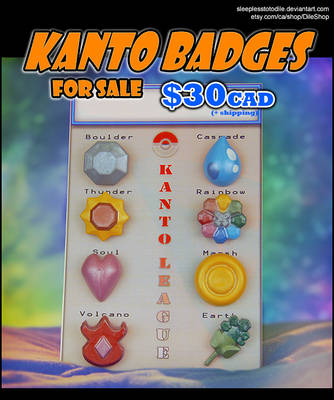 Kanto Badge Pins for sale! 30 (CAD)$ by SleeplessTotodile