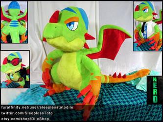 Nevos the Chameleon Dragon Plush Commission 3.5ft! by SleeplessTotodile
