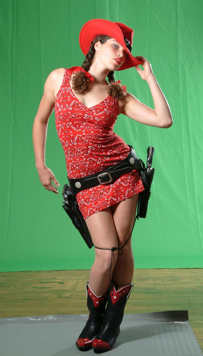 cowgirl gunslinger by mjranum-stock