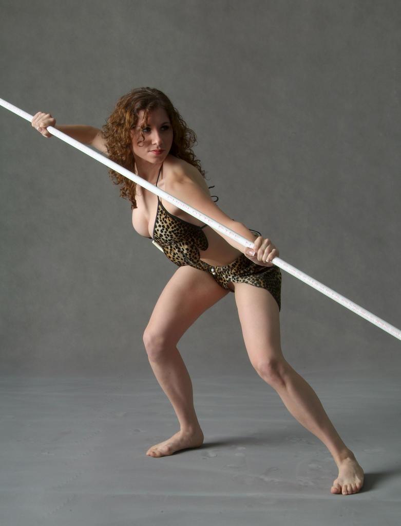 tribeswoman spearwoman warrior by mjranum-stock