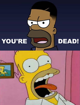 Homer Simpson freaks out at his Johnson self