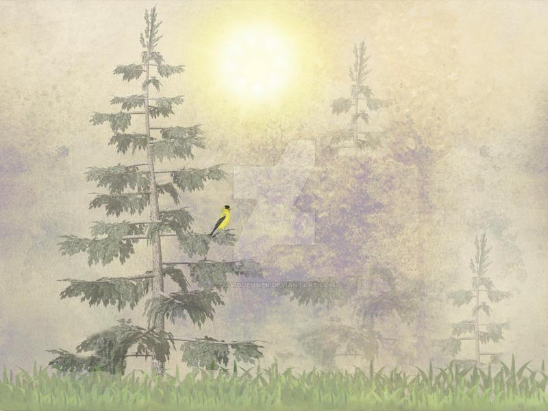 American Goldfinch Morning Mist by DavidDehner