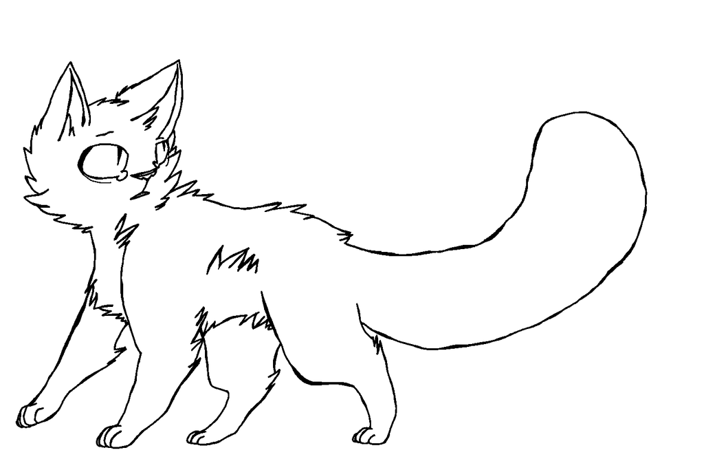 Simple Cat Lineart : Cat lineart by foxils ms paint version dogplss on