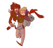 Grantaire and Gavroche by BeesInMyPants