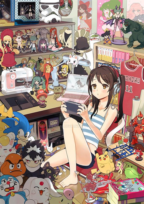 Anime Expo Art Show:: Otaku's room by kissai