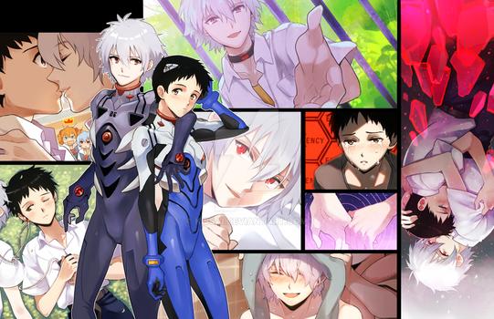 Kaworu + Shinji