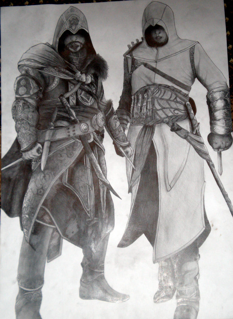 Ezio and Altair. Pencil. 86x61 sm. by LeXaBES