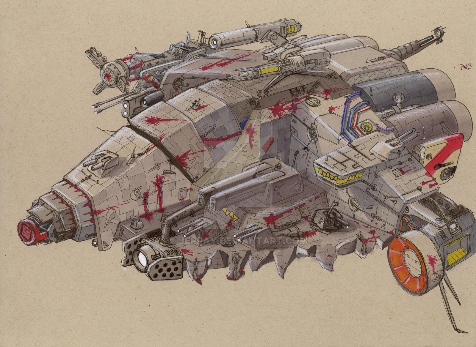 Bythrani raider ship by Jepray