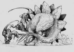 stegosaurus and raptors