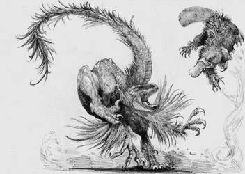 feathered raptor vs mutant platypus by Zombiraptor