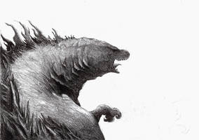 Godzilla sketch by Zombiraptor